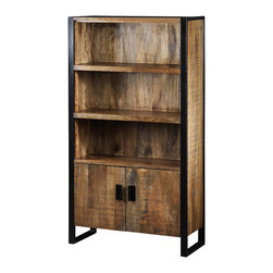 Artemano - Industrial Delia Bookcase Made of Mango Wood - Crafted of solid mango wood, the Delia Bookcase is a superb showpiece that features plenty of shelving for books, collectibles or dinnerware. The black iron accents help to make the rich colors in the mango wood really stand out. With its classic design, the Delia bookcase is quite versatile and would compliment several different design styles.  At home in the living room, dining room or even the home office, the Delia bookcase is a great way to warm up a room.