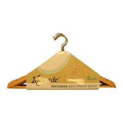 Proman - Kascade Hanger, Natural Color - Kascade Hanger packaged. Notch on shoulder parts for hanging straps. 50 pcs / box packaged, in packs of 5. Natural Color Finish.