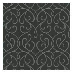 Decorline - Dl Accent Scroll Wallpaper, Charcoal, Bolt - A rich charcoal grey with silver accents, this mod swirl wallpaper creates a dramatic impact on walls with sassy matte grain texture effects. Each wallpaper bolt is 20.5 inches wide and 33 feet long, covering about 56 square feet. The pattern has a 12.56 inch repeat and a Straight match.
