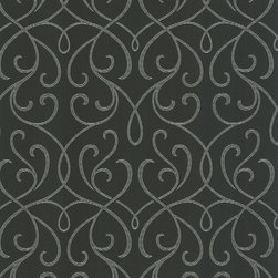 Decorline - Dl Accent Scroll Wallpaper - Chic scrolls in shimmering silver make a dramatic pattern on the charcoal gray background of this sophisticated wallpaper. With this elegant design on your walls, you'll be transported to a world of style and savoir faire.