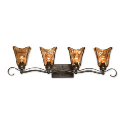 None - Vetraio 4-light Oil Rubbed Bronze Vanity Strip - Heavy hand made glass is held in classic European iron works giving these pieces a contemporary quality,with strong traditional appeal as well.