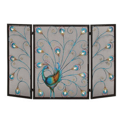 Benzara - Contemporary and Modern Colorful Metal Fireplace Screen Home Accent Decor - Contemporary and modern colorful metal fireplace screen living dining and family room home accent decor