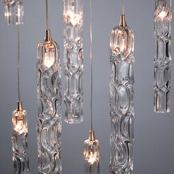 Twist Chandelier - Twist blown glass pendant light. Shown in Clear.