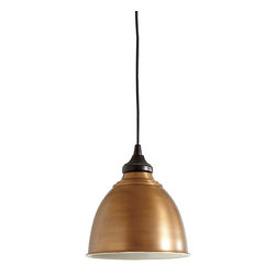 Ballard Designs - Small Industrial Copper Shade with Adapter - Plug In Light - Hardwire and Can Light options feature a bronze ceiling canopy. Plug-In Cord is wrapped in black fabric and includes ceiling hook for easy hanging. Changes the mood of the room instantly. Reinvent your look with our versatile Copper Shade Pendant lighting. Choose from three unique options to attach your pendant to the ceiling. Use the instant light adapter for can lights to give old recessed lighting an instant update. The conversion adapter screws into any existing medium base light socket, recessed can light, with no additional wiring needed. A built-in cord spindle lets you adjust the drop to fit your space. Choose our versatile and easy-to-use plug-in option that plugs into a standard outlet. It has a 20' cord so you can change the look of a room in an instant without any additional wiring. Or select our traditional option that simply attaches into your ceiling like a standard hardwired pendant. The shade is crafted of iron in a copper finish with white enamel interior to amplify the light. Now you can create a pendant light anywhere.Small Industrial Copper Shade Adapter features: . . .