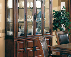 Coaster - Westminister Collection Hutch & Buffet (China) in Cherry - This large size, heavy hardware and rich finish give you a true taste of the Old West. This handsome dining collection finds its appeal in any home. Made of birch solids and veneers.