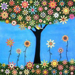 Summer Bird Tree Painting Art Print by Sascalia - I love the colors, the flowers and that cute little bird nestled right in the fork of the tree! This picture would add such a spring-like feel to a room.