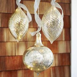 Lit Mercury Outdoor Ornaments - Twinkly lights plus large mercury glass ornaments equals front porch decor love.