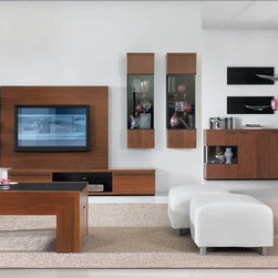 Just Wall Unit - Just Wall System in cognac stained walnut with black inserts.  Made in EU.