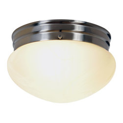 Premier - Two Light 9.5 feet Flush Mount - Brushed Nickel - This two-light flush mount ceiling fixture will add a touch of exquisite style to any room. It features a brushed nickel finish and alabaster glass. This fixture uses energy-saving fluorescent lamps (included).