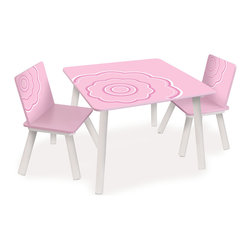 P'kolino - P'kolino Classically Cool Tables and Chairs, Blossom - Children will love to take a seat at this classically cool table and chair set. With bright, bold colors and patterns, this playful set is a great addition to any bedroom or playroom.