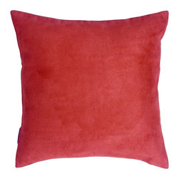 Pillow Decor - Pillow Decor - 18 x 18 Royal Suede Red Throw Pillow - 100% Polyester microfiber, enticingly soft faux suede pillows. The right scale for sectionals, sofas and larger scale chairs. They easily mix with other colors, shapes and sizes in the Royal Suede collection for endless combinations!