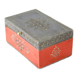 "MarktSq - Hand Painted Wooden Jewelry Box in Orange and Grey and Distressed Finish - This box is almost 9"" in length allowing one to store lots of items. The gorgeous colors and intricate design makes this an ideal gift item. Approximate dimensions: L 8.6"" x W 5.5"" x H 3.75"""