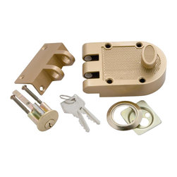First Watch Security - Single Cylinder Interlocking Deadbolt in Polished Brass - 5-pin tumbler with hardened steel pins. Single cylinder locking unit and strike. Locks door to jamb to prevent forced entry. Requires a 1-1/4 in. hole. Includes tamper-resistant shutter guard. Polished Brass Finish