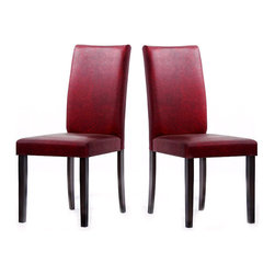Warehouse of Tiffany - Warehouse of Tiffany 'Shino' Dining Room Chairs (Set of 2) - These beautiful chairs from Warehouse of Tiffany feature faux leather construction in an attractive red and black design. These stylish chairs are constructed of oak for durability.