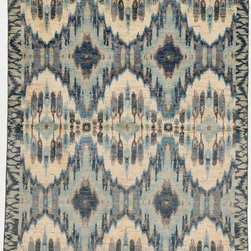 Rug Knots - Handmade Multi Colored Oriental Ikat Rug without Borders 6x9.08 - Cool blues and warm beiges are featured in this upbeat, modern rug. Playful yet modern diamond patterns mix with traditional Ikat designs in an abstract yet structured look. This contemporary rug would look fabulous in a funky dining room or chic living space. The rug's unique pattern makes it a striking centerpiece. Made of pure wool, this rug is as high quality as it is high style, meaning you'll be able to admire this work of art for years to come.