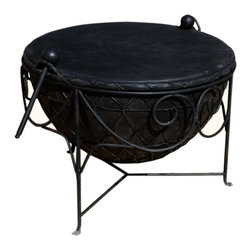 Sierra Living Concepts - Black Wrought Iron & Leather Round Drum Unique Coffee Table - Truly Unique Drum Coffee Table, Bring a touch of Indian Folk Tradition to your living room with this wonderful piece. According to tradition, the drum is learned by hands-on teaching, never from a written word.
