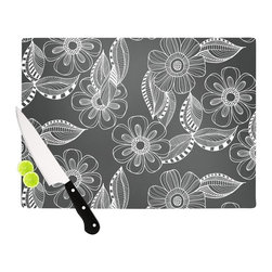 "Kess InHouse - Louise Machado ""Floral Ink"" Gray White Cutting Board (11"" x 7.5"") - These sturdy tempered glass cutting boards will make everything you chop look like a Dutch painting. Perfect the art of cooking with your KESS InHouse unique art cutting board. Go for patterns or painted, either way this non-skid, dishwasher safe cutting board is perfect for preparing any artistic dinner or serving. Cut, chop, serve or frame, all of these unique cutting boards are gorgeous."