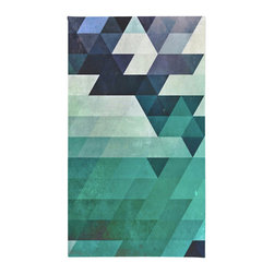 """Contemporary Teal Geometric Shapes Rug, 50x36 - Using 100% woven polyester, these premium quality area rugs boast an exceptionally soft touch and high durability. Available in three versatile sizes (36""""x24"""", 60""""x36"""", 72""""x48"""") they are the perfect accent to any room in your home, featuring thousands of designs from your favorite artists on a subtle chevron pattern. Machine washable; non-skid pad not included."""