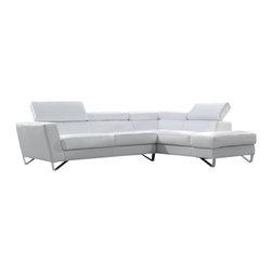 VIG Furniture - Waltz White Top Grain Leather Sectional Sofa With Adjustable Headrests - The Waltz sectional sofa is a perfect example of today's modern furniture design. This sectional comes upholstered in a beautiful white top grain Italian leather in the front where your body touches. Skillfully chosen match material is used on the back and sides where contact is minimal. High density foam is placed within the cushions for that extra added comfort. Only solid wood products were used when crafting the frame making this sofa very durable. The sectional features adjustable headrests adding to your overall relaxation.