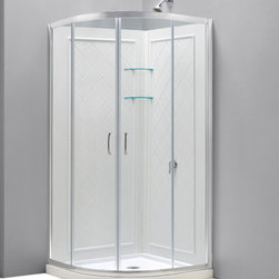 "DreamLine - DreamLine Prime 31 3/8"" by 31 3/8"" Frameless Sliding Shower Enclosure - This convenient kit from DreamLine combines a PRIME shower enclosure with coordinating SlimLine shower base and matching shower backwalls. The SlimLine shower base has a modern low profile design, is fiberglass reinforced and scratch and stain resistant. The shower backwall panels have a tile pattern and are easy to install with a trim-to-size fit. Both the shower panels and shower base are made from durable and attractive Acrylic/ABS advanced materials. Choose a DreamLine kit to totally transform a shower space. Items included: Prime Shower Enclosure, 33 in. x 33 in. Quarter Round Shower Base and QWALL-4 Shower Backwall KitOverall kit dimensions: 33 in. D x 33 in. W x 76 3/4 in. HPrime Shower Enclosure:,  31 3/8 in. W x 31 3/8 in. D x 72 in. H ,  1/4 (6 mm) clear tempered glass,  Chrome hardware finish,  Frameless glass design,  Out-of-plumb installation adjustability: Up to 3/4 in. per side,  Anodized aluminum profiles and guide rails,  Designed to be installed against finished walls (not directly to studs),  Door opening: 17 9/16 in.,  Stationary panel: Two 10 1/2 in. panels ,  Material: Tempered Glass, Aluminum,  Tempered glass ANSI certified33 in. x 33 in. Quarter Round Shower Base:,  High quality scratch and stain resistant acrylic,  Slip-resistant textured floor for safe showering,  Integrated tile flange for easy installation and waterproofing,  Fiberglass reinforcement for durability,  cUPC certified,  Drain not includedQWALL-4 Shower Backwall Kit:,  Color: White,  Assembly required,  Designed to be installed over existing finished surface (not directly against studs),  Includes 2 glass corner shelves,  Attractive tile pattern,  Unique water tight connection of panels ,  Durable acrylic/ABS construction,  Trim-to-Size design for shower enclosures w/ wall dimensions 30 in. to 40 in. from corner,  Must be trimmed during installation Product Warranty:,  Shower Enclosure: Limited 5 (five) year manufacturer warranty ,  Shower Base: Limited lifetime manufacturer warranty,  Shower Backwalls: Limited 1 (one) year manufacturer warranty"