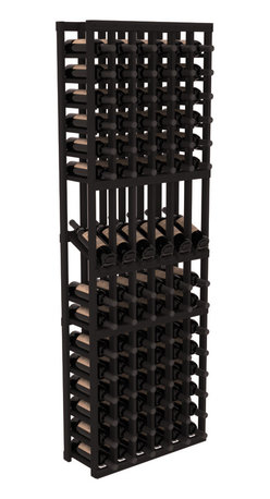 Wine Racks America - 6 Column Display Row Wine Cellar Kit in Redwood, Black - Make your best vintage the focal point of your wine cellar. These decorative wine racks allow presentation of favored and coveted labels. This solid build wine rack is constructed from superior pine and redwood materials. Features our industry exclusive solid display trays with a high reveal.