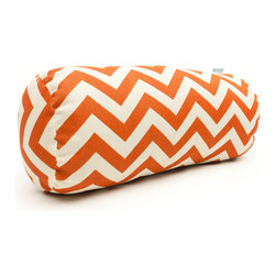 Majestic Home - Outdoor Burnt Orange Chevron Round Bolster - Add a splash of color and a little texture to any environment with these great indoor/outdoor plush pillows by Majestic Home Goods. The Majestic Home Goods Round Bolster Pillow will add additional comfort to your living room sofa or your outdoor patio. Whether you are using them as decor throw pillows or simply for support, Majestic Home Goods Round Bolster Pillows are the perfect addition to your home. These throw pillows are woven from Outdoor Treated polyester with up to 1000 hours of U.V. protection, and filled with Super Loft recycled Polyester Fiber Fill for a comfortable but durable look. Spot clean only.
