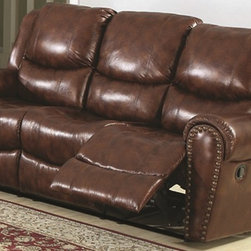 """Sunset Trading - Sunset Trading Oxford Double Reclining Sofa - Make a stunning statement in your home with Sunset Trading's Oxford Collection. This ultra comfortable seating will turn your living room into a luxurious place to kick back and watch a movie or visit with friends. The padded  contoured arms adorned with brass nail heads create a contemporary feel that will give any room a distinctive look. Brown Reinforced frames are made with selected hardwoods  glued and corner blocked for extra durability  Cenro reclining mechanisms are built on a heavy duty steel rail system to give you generations of trouble free use   Sofa has two recliners and a drop down table convenient for food and drinks Recliners extend to 66""""  Requires 4"""" clearance  Recessed external handle provides easy open and closure of the reclining mechanism without interfering with the overall style of the chair Brass nail heads on arm fronts offer a regal look  Seating and back frames equipped with sinuous heavy duty no sag springs Seat cushions contain Pocket Coil Seating which consists of separately covered coil springs  wrapped in a specially designed foam casing  protected by a layer of Dacron.  This fabric pocket allows each spring to slide up and down individually of the spring next to it.  This pocket sprung sofa is a fabulous choice if you and another user vary in weight since the pocket springs move freely on their own while the extra high density of the encasing foam provides the best possible conformity to your body curves.  Each time you stand up from the sofa  all the springs expand and press outwards  preserving the shape of the seat cushion.  The high tension coil wire makes the seat cushion more supportive and buoyant so this sofa will outlast pieces using old-style foam cushions that can break down over time and lose their support.  The pocket springs in this durable  yet amazingly comfortable sofa will give you consistent support your family will enjoy for generations!"""