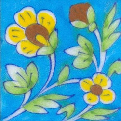 "Knobco - Tiles 3x3"", Yellow & brown flower w/ green leaves on turquoise - Yellow & brown flower with green leaves on turquoise tile from Jaipur, India. Unique, hand painted tiles for your kitchen or other tiling project. Tile is 3x3"" in size."