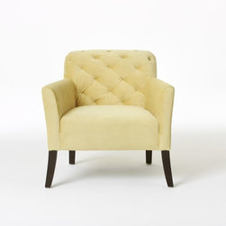 Elton Chair, Dandelion Performance Velvet - This soft yellow chair is beautiful. Add a gorgeous pillow, and you can create the perfect look for spring.