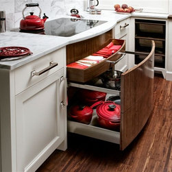 Trish Namm - Oven Drawer by Quality Custom Cabinetry available through Kent Kitchen Works; Kitchen Design by Bluebell Kitchens