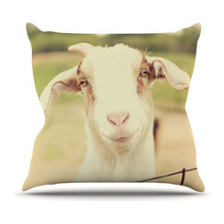 """Kess InHouse - Angie Turner """"Happy Goat"""" Smiling Animal Throw Pillow (16"""" x 16"""") - Rest among the art you love. Transform your hang out room into a hip gallery, that's also comfortable. With this pillow you can create an environment that reflects your unique style. It's amazing what a throw pillow can do to complete a room. (Kess InHouse is not responsible for pillow fighting that may occur as the result of creative stimulation)."""