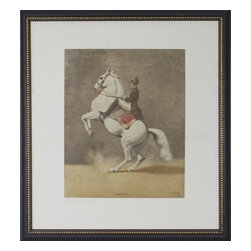 Consigned Lippizan Horse Silk Print I, Print I - Vintage Silk print by Joseph Plank. Lippizan horse performing the Coubette.