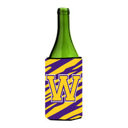 Caroline's Treasures - Monogram - Tiger Stripe - Purple Gold Initial W Wine Bottle Koozie Hugger - Monogram - Tiger Stripe - Purple Gold Letter W Wine Bottle Koozie Hugger CJ1022-WLITERK Fits 750 ml. wine or other beverage bottles. Fits 24 oz. cans or pint bottles. Great collapsible koozie for large cans of beer, Energy Drinks or large Iced Tea beverages. Great to keep track of your beverage and add a bit of flair to a gathering. Wash the hugger in your washing machine. Design will not come off.