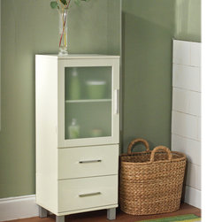 None - Frosted Pane 2 Drawer Linen Cabinet - Add a modern touch while obtaining extra storage with this white, floor, linen cabinet. The frosted pane windows give this cabinet piece a unique look, while two drawers and an adjustable shelf allow for ample room and personalization.