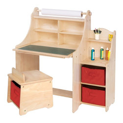 "Guidecraft - Guidecraft,Artist Activity Desk - A fully self-contained art center with storage stool. Adult assembly required. Ages 3+. Three bins, 9""W x 11""D x 7""H each. Desk is 36""W x 24""D x 39""H.Features include: 18"" replaceable roll of art paper Child-safe cutter for rolled paper Write-on/wipe-off easel surface Fold-down, chalkboard surface Stool with fabric storage bin Storage shelves in fold-down desk Side shelves and fabric storage bins 4 paint cups and paint cup holders"