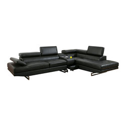 FOA - Vetovo Sectional Sofa in Black Bonded Leather with Bluetooth Console - This Contemporary Sectional is upholstered in Black Bonded Leather.