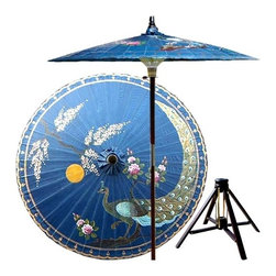 Oriental Unlimted - Victory of the Peacock Patio Umbrella in Radi - Includes Bamboo stand. Handcrafted and hand-painted by master artisans. 100% Waterproof and extremely durable. Umbrella shade can be set at 2 different heights, 1 for maximum shade coverage and the other for a better view of the shade. An optional base, which secures the umbrella rod and shade against strong winds and rain. Patio umbrella rod and base is constructed of stained oak hardwood for a rich look and durable design. Umbrella shade is made of oil-treated cotton. Minimal assembly required. Canopy: 76 in. D x 84 in. HThis unique patio umbrella is an artisan's homage to the royal peacock, famed for its wisdom, pride and self-assurance. Bedecked in gold, this stunning hand-painted peacock is depicted with a nurturing yellow sun and an Asian tree, symbolic of longevity.
