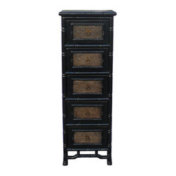 Golden Lotus - Black Rattan Top Bamboo Look 5 Drawers Chest - This 5 drawers chest is made with solid wood and carved look like bamboo. The surface is finished with rattan.