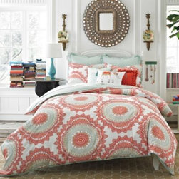 Anthology - Anthology Bungalow Comforter Set - Transform your bedroom into a bohemian oasis with this super-soft Anthology comforter set. The collection's design offers a bohemian flair with a contemporary twist, brought to life with an eclectic color palette of aqua blues and shades of coral.