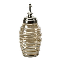 IMAX CORPORATION - Large Mccoy Lidded Jar - Anything but traditional, the large McCoy lidded jar features a brown luster glass bodice with embossed lines hugging the tall form. Topped with an elongated aluminum finial, this lidded jar works well with a variety of interiors. Find home furnishings, decor, and accessories from Posh Urban Furnishings. Beautiful, stylish furniture and decor that will brighten your home instantly. Shop modern, traditional, vintage, and world designs.