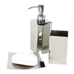 Gedy - Polished Chrome Bathroom Accessory Set - Trendy bathroom accessory set which includes toothbrush holder, soap dispenser, and soap dish.