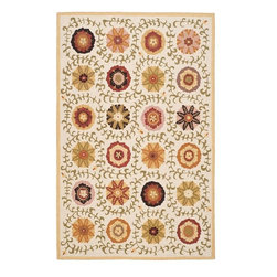Safavieh - Country & Floral Blossom 8'x10' Rectangle Ivory - Multi Color Area Rug - The Blossom area rug Collection offers an affordable assortment of Country & Floral stylings. Blossom features a blend of natural Ivory - Multi Color color. Hand Hooked of Wool the Blossom Collection is an intriguing compliment to any decor.