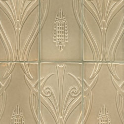 Avalon - Shown is the Avalon tile in C05 Avalon Crackle.  This gorgeous pattern creates a wallpaper like effect and has low relief carved into the surface to make the pattern pop.  All of our tile is handmade to order in Nashville, TN and can be ordered in over 50 colors and finishes.