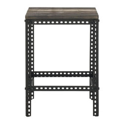 Safavieh - Gina End Table - It's only natural. The intermingling of metal and fir wood with reclaimed charm creates the Gina End Table's rugged industrial charm. Perfect for contemporary interiors and classic style rooms in need of an instant update.