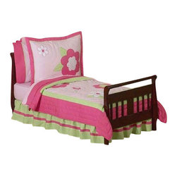 Sweet Jojo Designs - Pink & Green Flower Toddler Bedding Set (5 Pc.) - The Pink and Green Flower Toddler Bedding set by Sweet Jojo Designs will help you create an incredible room for your child. Embroidery and appliqués of detailed flowers decorate this beautiful set for a timeless designer look that is perfect for any girls room. The design uses 100% cotton fabrics that are machine washable for easy care.  This wonderful set will fit all crib and toddler beds.
