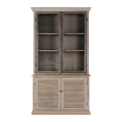 Brownstone Furniture Luxembourg Bookcase - The Luxembourg cabinet is made of solid white oak and finished in a lightly cerused fog gray. Handles are crafted in solid steel with an antique finish. Door panels are glass with solid oak framing.