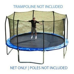 15 ft trampoline net attaches with straps for 8 straight. Black Bedroom Furniture Sets. Home Design Ideas