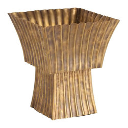 Arteriors - Arteriors York Vintage Brass Scalloped Cachepot - The York cachepot by Arteriors is a contemporary design for displaying flowers, plants or even trinkets in style. An artistic scalloped texture and antiqued finish give this chic pedestal a vintage look. Brass; Vintage finish