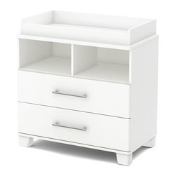 South Shore - Changing Table in Pure White Finish - Mattress not included. Removable changing station. Two drawers for the storage space a nursery needs. Metal slides for smooth gliding. Two open storage spaces. A hole for passing cables through, so can better manage the cords of devices such as a baby monitor or a small radio. Long, elegant nickel-finished metal handles. Wooden legs, cut partly on an angle to emphasize the contemporary style. Drawer fronts, legs and handles with rounded contours for added safety. Perfect for babies of up to 30 lbs.. Meets or exceeds all North American safety standards. Warranty: Five years limited. Made from laminated particle boards. Made in Canada. Drawer: 32 in. W x 13.75 in. D x 5.25 in. H. Overall: 35.5 in. W x 19.5 in. D x 36.75 in. H (106 lbs.). Assembly InstructionsBecause the nursery can also look modern and stylized, this changing table with removable changing station from the Cuddly collection is ideal for all your needs. Its clean lines and attractive wooden legs, cut partly on an angle, make it the perfect complement for babys room, giving it a contemporary look and lots of storage space.