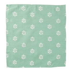 Cricket Radio - Montauk Wheels Napkin, Set of 2, Aqua/White - Hey, Skipper. Style's ahoy when you add these jaunty napkins to your table. Each set of two features a captain's wheel pattern hand-printed using ecofriendly inks on Italian linen. And they come in your choice of colors so you can steer your next dinner party in a nautical direction.